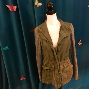 BE COOL Olive Green Gray Knit Long Sleeve Jacket L